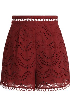 Кружевные шорты из хлопка Zimmermann бордовые | Фото №1