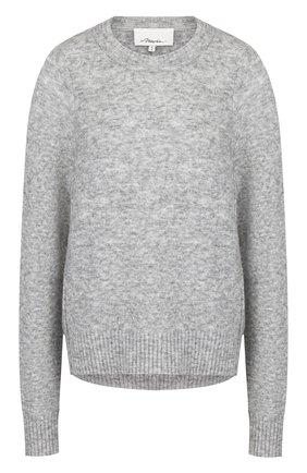 Однотонный шерстяной пуловер с круглым вырезом 3.1 Phillip Lim серый | Фото №1