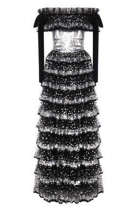 Женское приталенное платье-макси с оборками и пайетками VALENTINO серебряного цвета, арт. QB2VD7P01ED   Фото 1