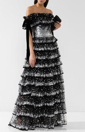 Женское приталенное платье-макси с оборками и пайетками VALENTINO серебряного цвета, арт. QB2VD7P01ED   Фото 2