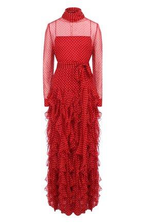 Шелковое платье-макси с поясом и воротником аскот | Фото №1