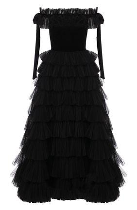 Приталенное платье-бюстье с оборками | Фото №1