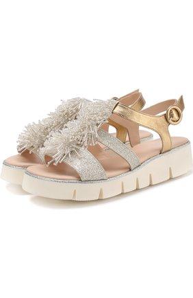 Кожаные сандалии с вышивкой бисером | Фото №1