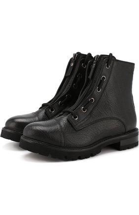 Кожаные байкеры на молнии и шнуровке AGL черные | Фото №1