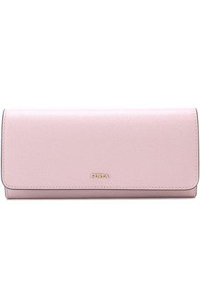 Кожаный кошелек с клапаном и логотипом бренда Furla светло-розового цвета | Фото №1