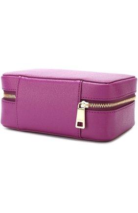 Кожаная косметичка на молнии Furla фиолетовая | Фото №1