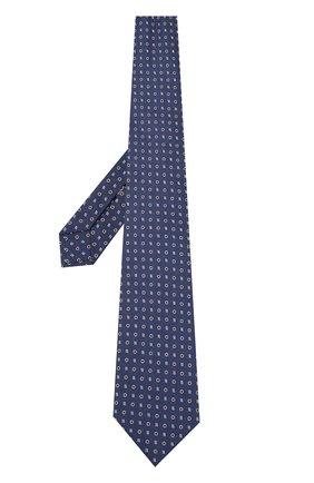 Шелковый галстук с узором Isaia темно-синего цвета | Фото №2