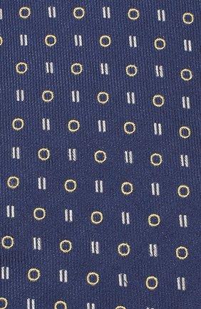 Шелковый галстук с узором Isaia темно-синего цвета | Фото №3