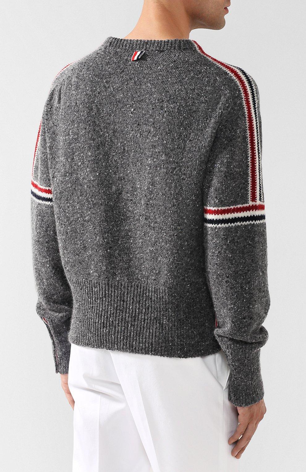 be94aa08bd79e Мужской серый шерстяной свитер с контрастной отделкой THOM BROWNE ...