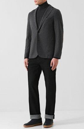 Однобортный шерстяной пиджак Eleventy UOMO темно-серый   Фото №1