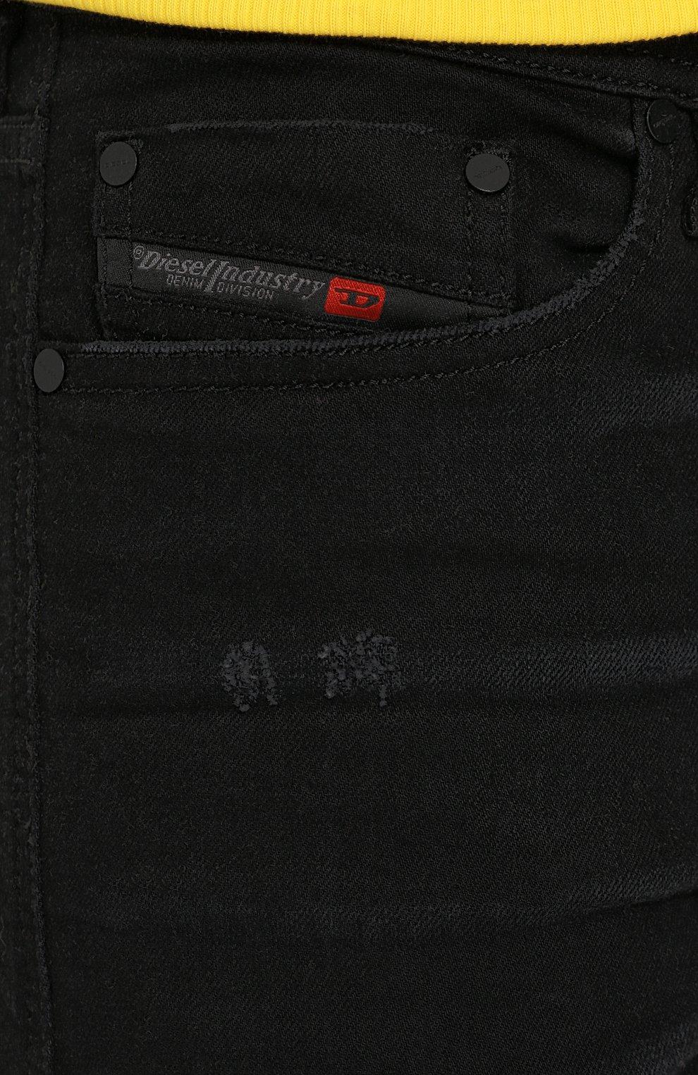 Джинсы-скинни с потертостями Diesel черные   Фото №5