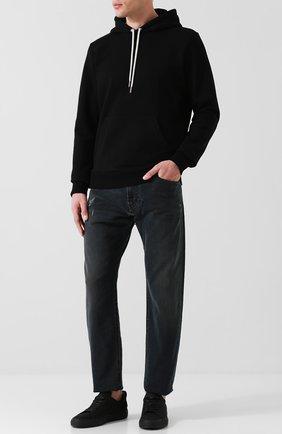 Хлопковое худи с карманом Diesel черный   Фото №1