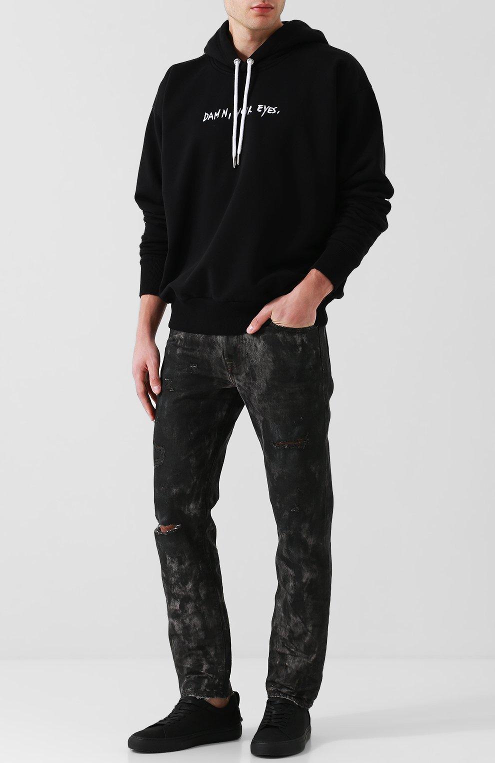 Хлопковое худи с вышивкой Diesel черный   Фото №2