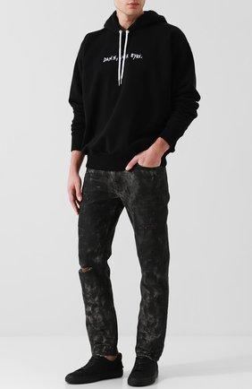 Хлопковое худи с вышивкой Diesel черный   Фото №1