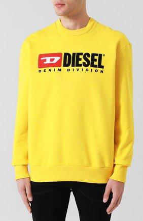 Хлопковый свитшот с принтом Diesel желтый | Фото №3