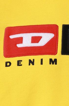 Хлопковый свитшот с принтом Diesel желтый | Фото №5