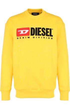 Хлопковый свитшот с принтом Diesel желтый   Фото №1