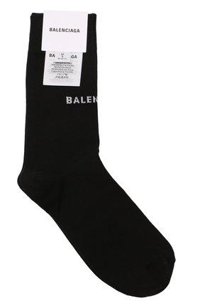 Женские хлопковые носки с логотипом бренда BALENCIAGA черного цвета, арт. 512473/368B8 | Фото 1