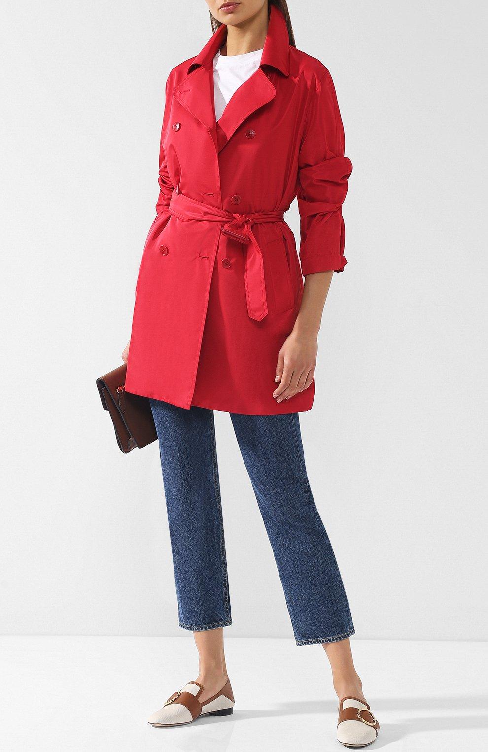 Женское однотонное пальто с поясом LORO PIANA красного цвета, арт. FAI0283 | Фото 2