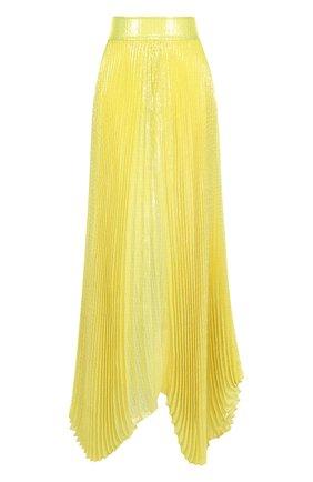 Плиссированная юбка-макси с широким поясом из шелка Alice + Olivia желтая   Фото №1