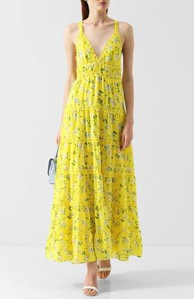 Приталенное платье-макси с оборками и принтом Alice + Olivia желтое   Фото №1