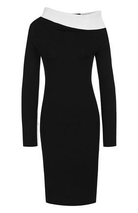 Приталенное платье с открытым плечом Haider Ackermann черно-белое | Фото №1