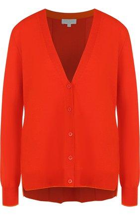 Однотонный кардиган из смеси шерсти и вискозы с кашемиром Escada Sport оранжевый | Фото №1