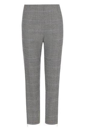 Укороченные брюки из смеси шерсти и вискозы в клетку Escada Sport серые | Фото №1