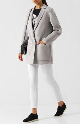 Однотонное шерстяное пальто с накладными карманами Escada Sport серого цвета | Фото №1