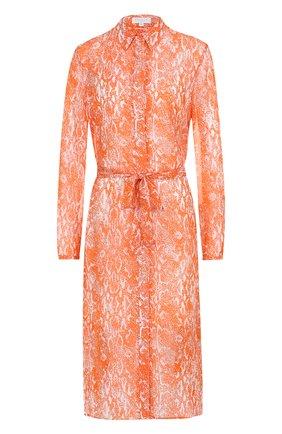 Шелковое платье с поясом и принтом Escada Sport оранжевое | Фото №1