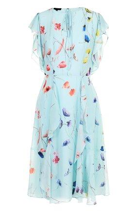 Шелковое платье с оборками и принтом Escada голубое   Фото №1