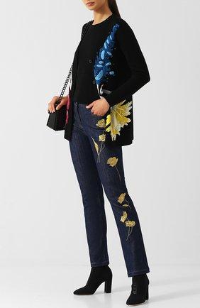 Джинсы прямого кроя с декоративной вышивкой Escada синие   Фото №1