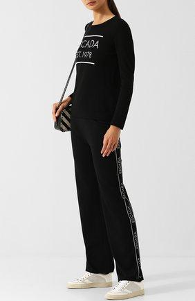 Шерстяные брюки прямого кроя с лампасами Escada черные   Фото №1