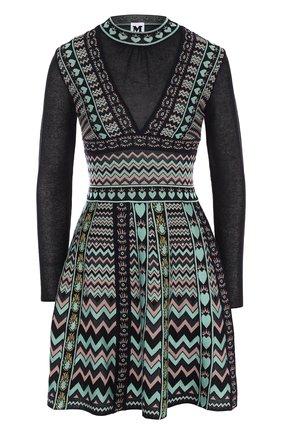 Приталенное мини-платье с принтом M Missoni разноцветное | Фото №1