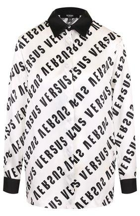 Женская шелковая блуза с логотипом бренда Versus Versace, цвет черно-белый, арт. BD20197/BT10762 в ЦУМ   Фото №1