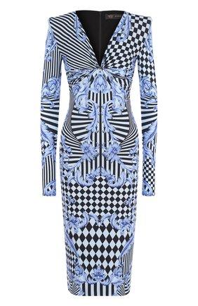 Приталенное платье с V-образным вырезом и принтом Versace голубое | Фото №1