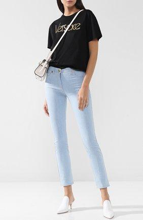 Однотонные джинсы прямого кроя Versace голубые | Фото №1