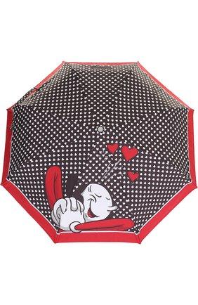 Женский складной зонт с принтом MOSCHINO черного цвета, арт. 7051-0PENCL0SE | Фото 1