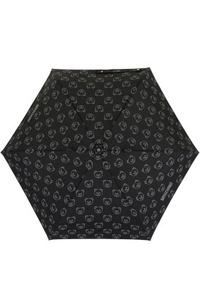 Женский складной зонт с брелоком MOSCHINO черного цвета, арт. 8043-SUPERMINI | Фото 1