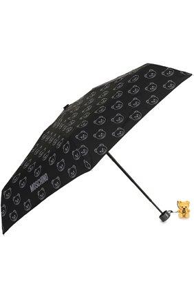 Женский складной зонт с брелоком MOSCHINO черного цвета, арт. 8043-SUPERMINI | Фото 2