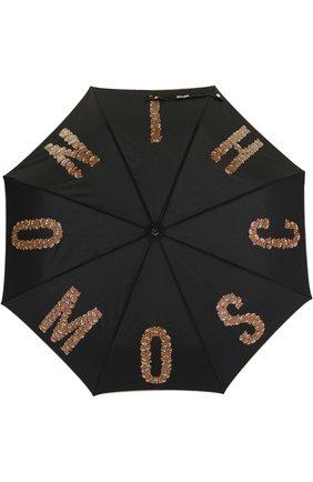 Складной зонт с принтом Moschino черный | Фото №1