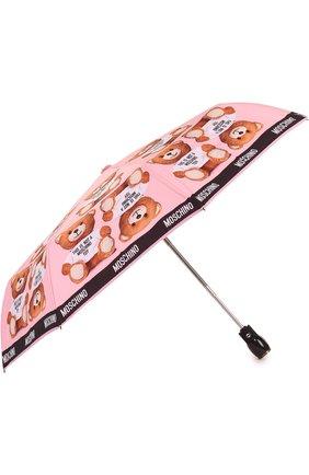 Складной зонт с принтом Moschino розовый | Фото №1