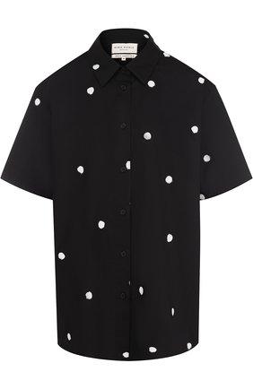 Хлопковая блуза с коротким рукавом в горох | Фото №1
