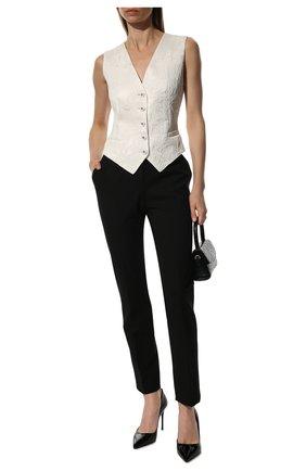 Женские укороченные шерстяные брюки со стрелками DOLCE & GABBANA черного цвета, арт. FTAMUT/FUCCS | Фото 2