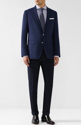 Шерстяные брюки прямого кроя HUGO темно-синие   Фото №1