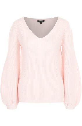 Однотонный пуловер из смеси шерсти и кашемира Escada светло-розовый   Фото №1