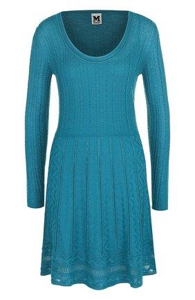 Приталенное мини-платье с круглым вырезом   Фото №1
