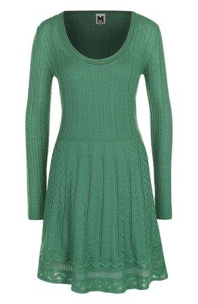 Приталенное мини-платье с круглым вырезом M Missoni бирюзовое | Фото №1