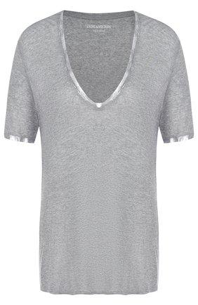 Однотонная футболка с V-образным вырезом Zadig&Voltaire серая | Фото №1