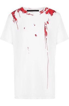 Хлопковая футболка с круглым вырезом и принтом Haider Ackermann белая | Фото №1